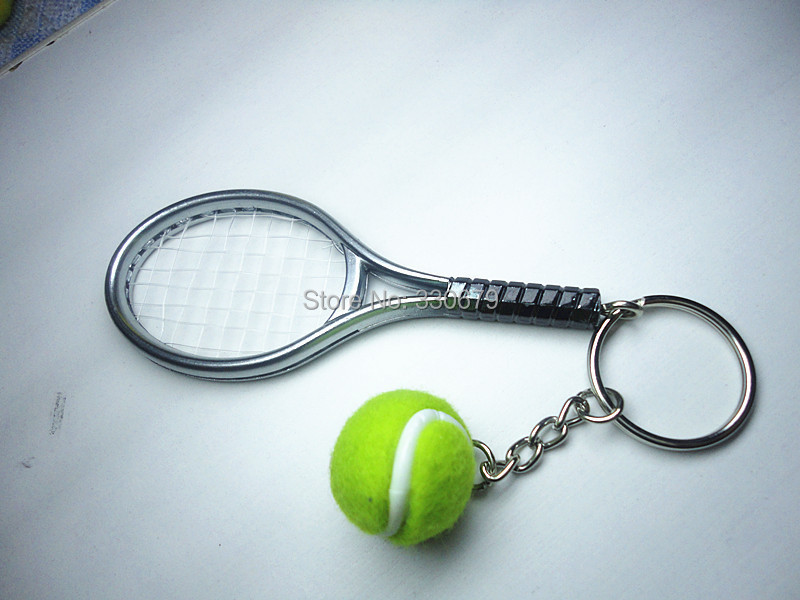 6 color pendant tennis rackets keychain with ball fashion accessories souvenir gift(China (Mainland))
