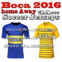 BOCA Jersey 2016 Soccer Jersey Blue Home Away Yellow Football Shirt 16 17 GAGO ROMAN BOCA CARLITOS 2016 New Jerseys Free Ship(China (Mainland))