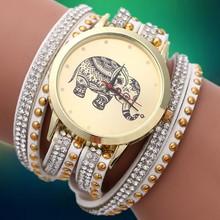 Nuevo 2015 moda de cuarzo de pulsera DIY corea de la cachemira mujeres Rhinestone reloj patrón elefante chapado en oro pulseras y brazaletes