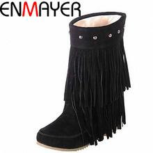 Enmayer tamaño grande 34-43 Women 's 3 Layer Fringe borlas decoración de los remaches de tacón bajo botas de invierno media pantorrilla botas zapatos de la nieve(China (Mainland))