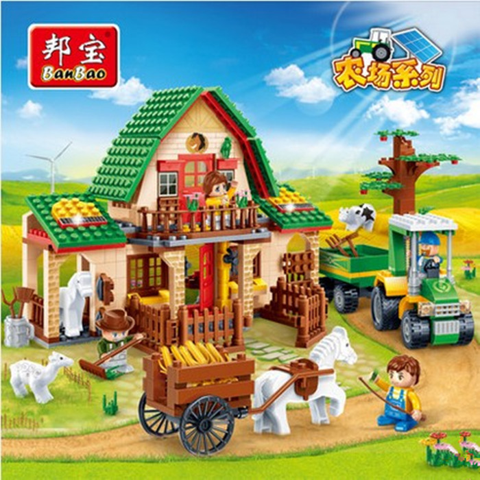 building block set compatible with lego Happy Rural farm houses 3D Construction Brick Educational Hobbies Toys for Kids<br><br>Aliexpress