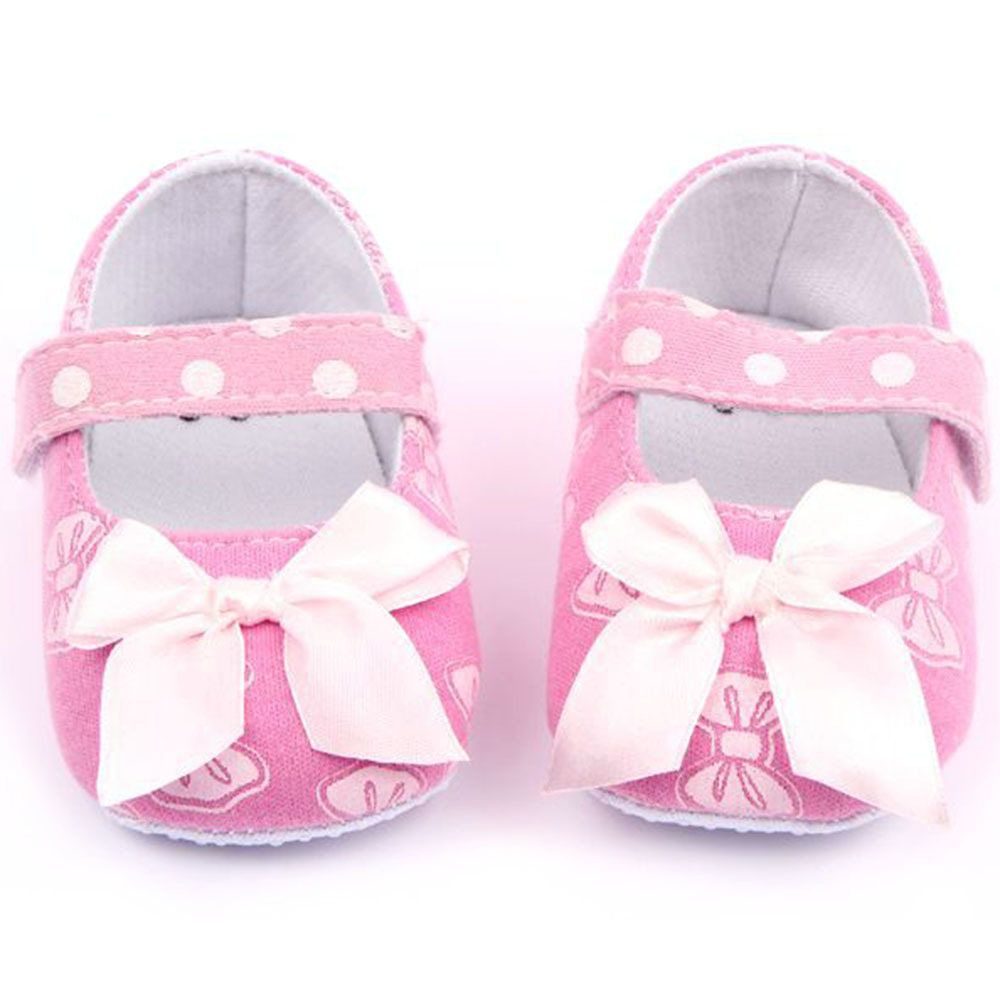 Baby Girls Kid Cute Pink Prewalker Soft Cotton Bowknot Infant Toddler Crib Shoes Free Shipping