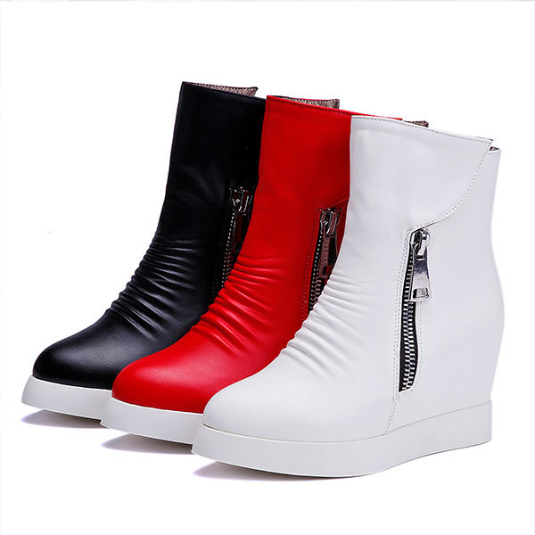 New 2015 Spring/Autumn solid color ankle boots causal round toe wedge heeled boots comfortable zipper women boots D3162<br><br>Aliexpress