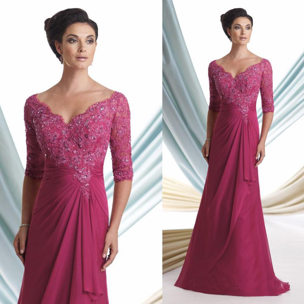 Plus Size Elegant Fuschia V Neck Beaded Lace Mother Of The