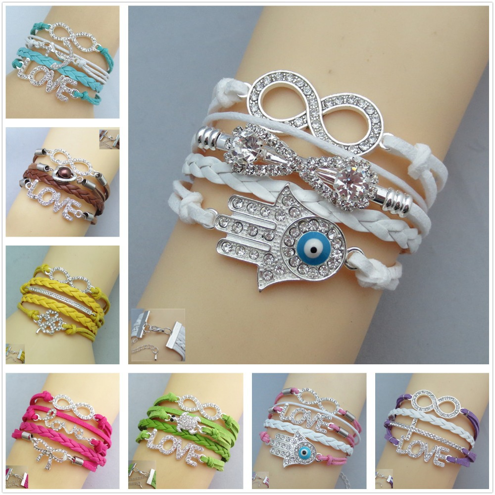 AliExpress Hot Sale Womens Bangle Fashion Vintage Crystal Evil Eye Cross Leather Multilayer bracelets bangles / Pulseras(China (Mainland))
