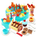75pcs DIY Cutting Birthday Cake Children Kids Baby Early Educational Classic Toy Pretend Play Kitchen Food
