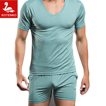 Men T Shirt Cotton Pajama Set Sleepwear Sexy Mens Underwear Tees Undershirts Tshirts Brand  Casual Short Sleeve Boxers