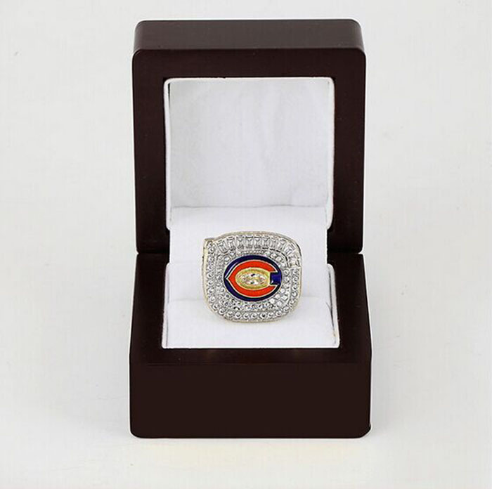Bottom price for N.F.C Brass 2006 Chicago Bears 24K gold Custom Sports Replica Fans Championship Ring with Gorgeous Wooden Boxes(China (Mainland))