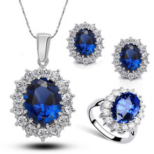 2016 Silver Plated Rhinestone Crystal William Kate Queen sapphire bridal wedding Jewelry Sets Jewelry for women 1194(China (Mainland))