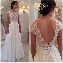 New Arrival 2015 Custom Made White Dress For Wedding Stunning Vestidos De Noiva A Line Cap Sleeve Lace Backess Wedding Dress(China (Mainland))