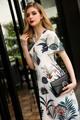 New Arrival 2017 Fashion Women Dress Noble o neck Print Dresses for Women High Quality Women