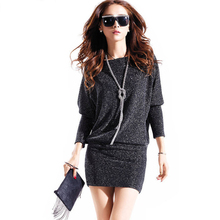 Dress Autumn Winter Women Batwing Long Sleeve Mini Dresses Active Shiny Party Sexy Vestido Sequin Package Hip Plus Size Vestidos(China (Mainland))