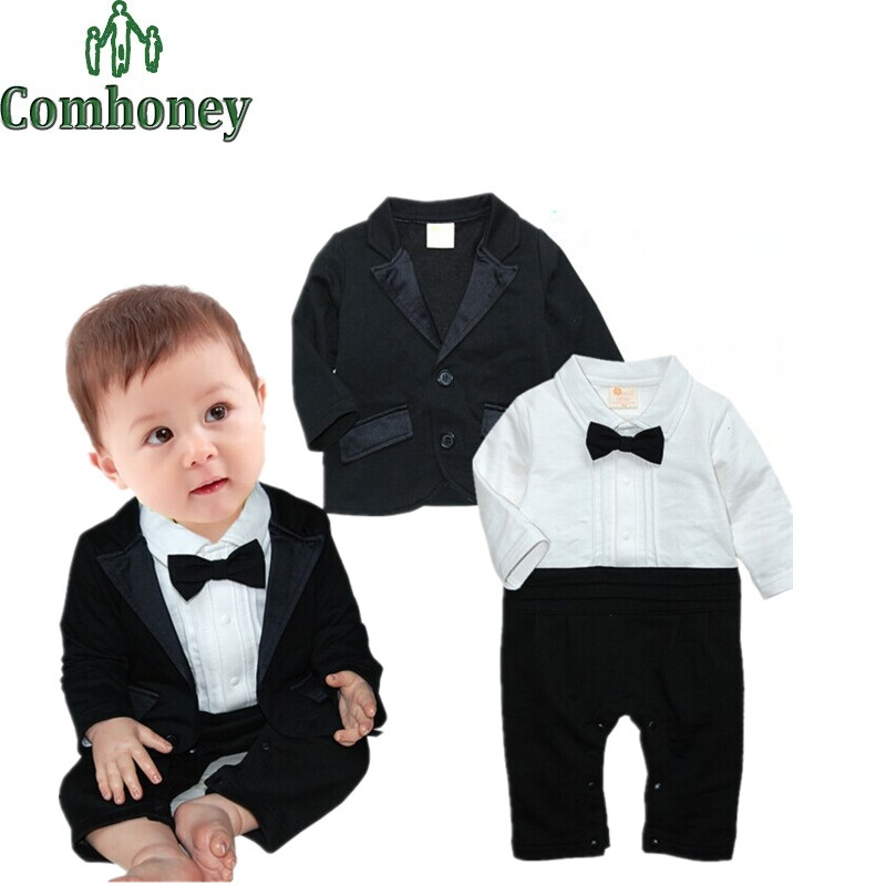Baby Rompers Gentleman Infant Boys Long-Sleeve Rompers+Suit Jacket Bebe Clothes Cotton Newborn Clothing Baby Outfit(China (Mainland))