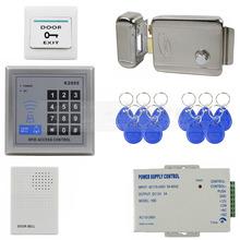 Access Controller bricolage 125 KHz Rfid clavier de contrôle d'accès système Kit + porte électrique serrure + alimentation + sonnette K2000(China (Mainland))