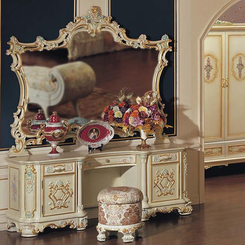 Baroque Luxury Makeup Dressing Table with Mirror. European Classical Carved Wood Dressing Table and Bedroom Furniture(China (Mainland))