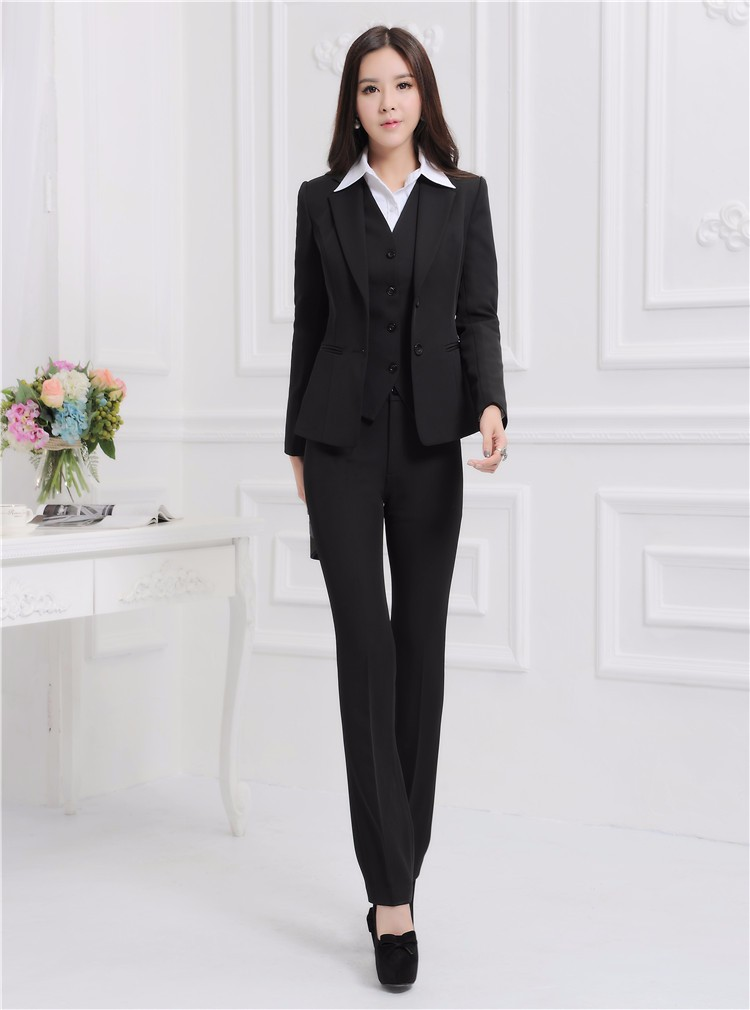 Formal Uniform Design Autumn Winter Professional Business Work Suits 3 pieces With Jackets + Pants + Vest Female Trousers Sets
