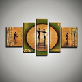 Modern picture wall art decor hand painted abstract figure 5 piece canvas art oil painting for