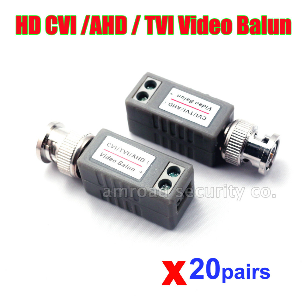 20Pairs HD CVI HD-TVI AHD 1 Channel Passive Video Balun Transceiver Male BNC to UTP Cat5/5e/6 Network Camera Cable(China (Mainland))