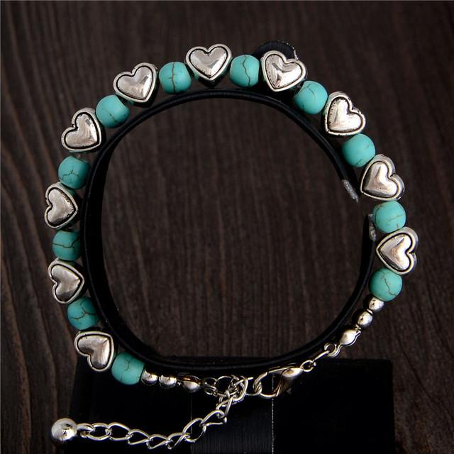 2015 новые 1 шт. популярные форме сердца дизайн леди женщина бирюзовый браслет