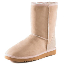 Shoesofdream mujeres de punta redonda Flock mitad de la pantorrilla nieve botas zapatos de cuero suaves(China (Mainland))
