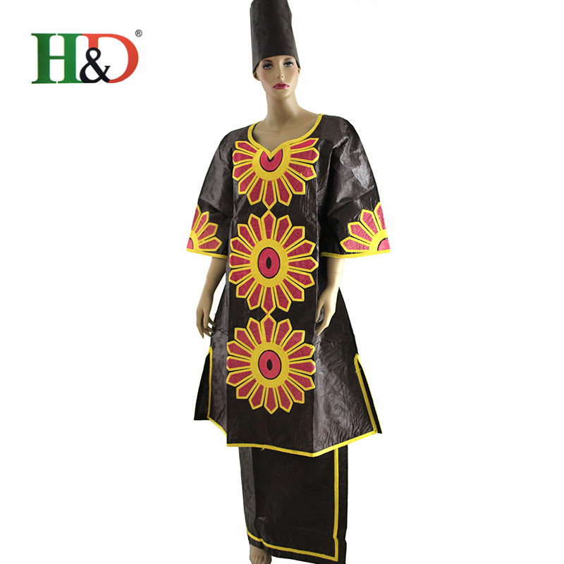 2016 Women African Bazin Dress Designs Long Dashiki Two Piece African Embroidery Traditional dashiki Dresses Fabric Gele HS2366(China (Mainland))