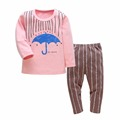 New 2016 Casual Girls Boys Clothing Set Umbrella Pattern Kids Clothes Long Sleeve T shirt Pants