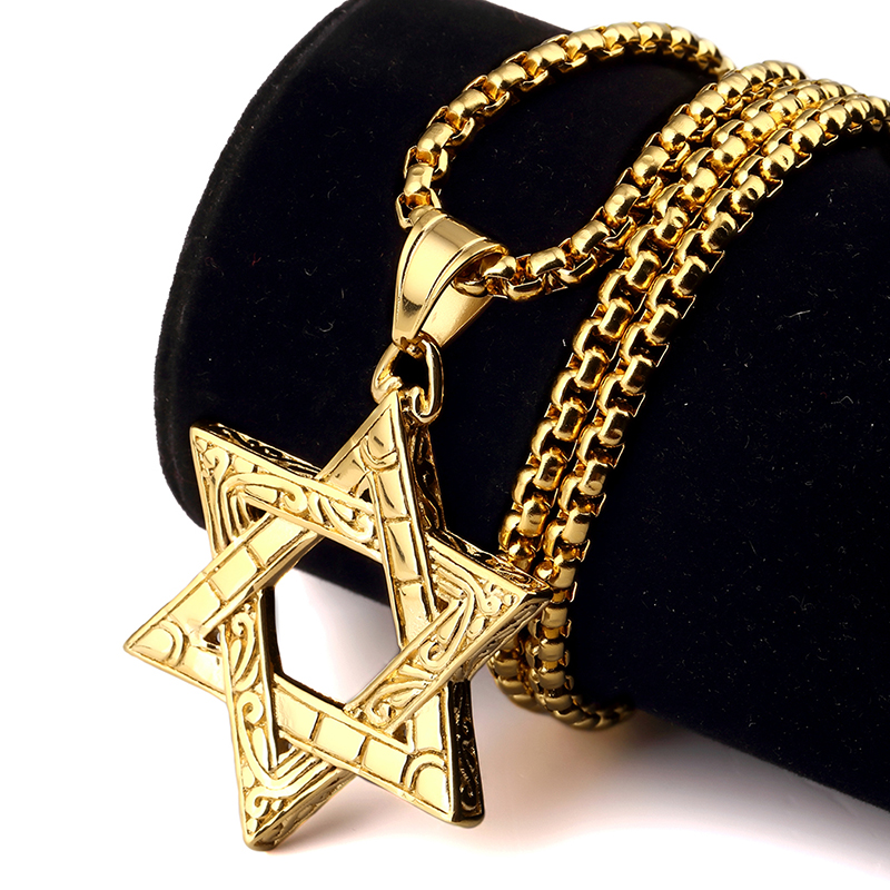 NYUKI Titanium Steel Gold Judaism Jewish Jew Star Charm Pendant Necklaces With 70cm Chain Necklace Mens Bling Jewelry For Gifts(China (Mainland))