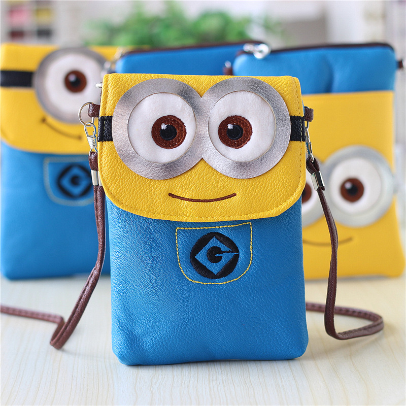 Despicable Me Cartoon Little Yellow Man Daddy Leather Purse Bag Children Mobile Phone Double Package Girl Small Bag(China (Mainland))