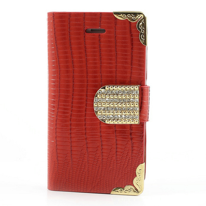 For iPhone 4S Case Luxury Diamond Crocodile Card Slots Wallet Leather Flip Cover for iPhone 4s 4 --016(China (Mainland))