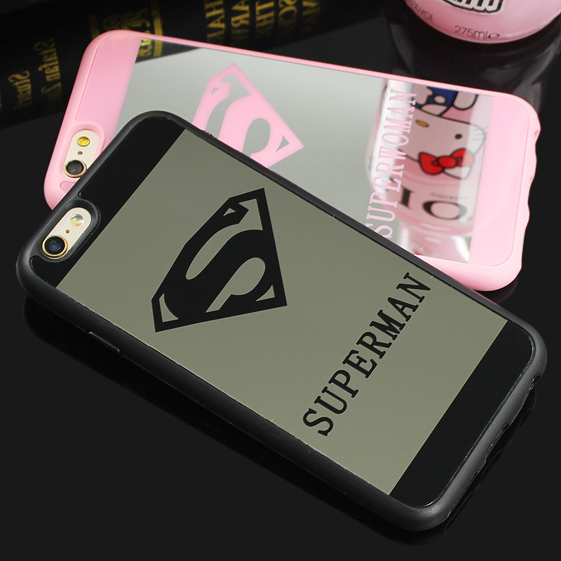 Newest Superman Superwoman Mirror Surface TPU Case For iPhone 6s 6 Plus 5 5s SE Chrome Back Cover Cases Coque Fundas(China (Mainland))