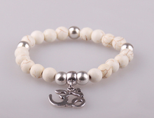 Free Shipping Fashion 8mm natual semi precious stone bracelet with OM pendant charm women or men metal Bracelets(China (Mainland))