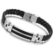 Hot Sale The New Fashion Men's Bracelets Titanium Leather Steel Pulseras Sillicone Bracelet YK2050(China (Mainland))