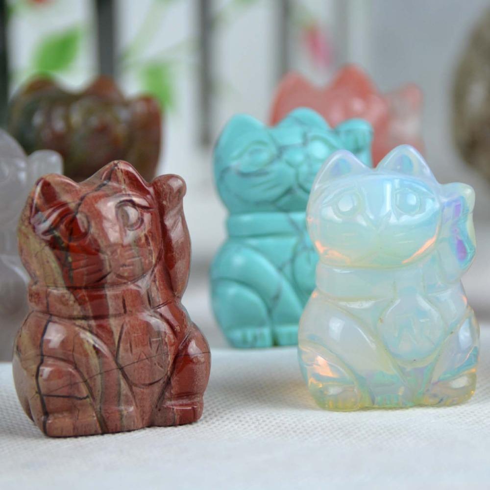 Handmade semi precious stone crystal carved lucky cat