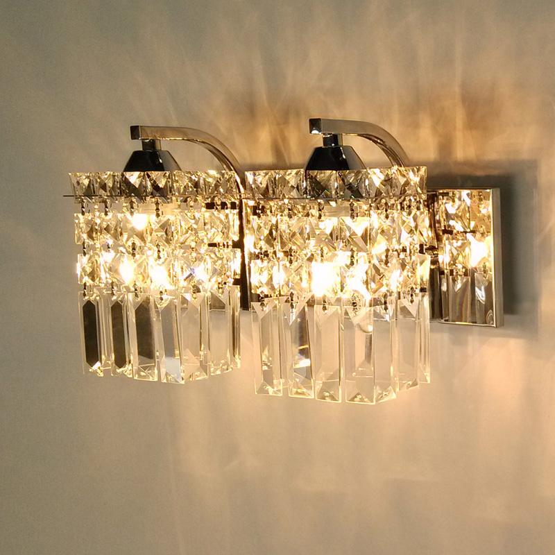 Simple modern LED crystal lamp bedroom bedside wall living room 2 lights sconce dining lighting hallway - Mel house Store store
