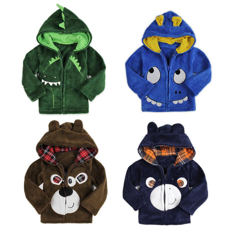 KNB winter kids cartoon jackets coats boy's animal long sleeve outerwear&coral velour children zipper ACOAT031 - Gate Enterprise Co., Ltd store