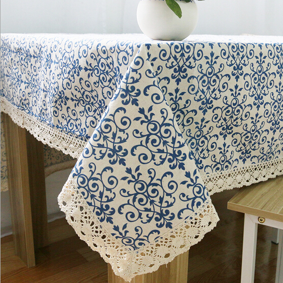 Classical Chinese blue and white linen tablecloths lace table cloth manteles para mesa rectangulares table cloth rectangular(China (Mainland))