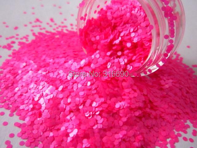 Solvent Resistant Glitter Neon Hot Pink Dot Glitter 1mm Circles Glitter Frankening Nail Polish Supply(China (Mainland))