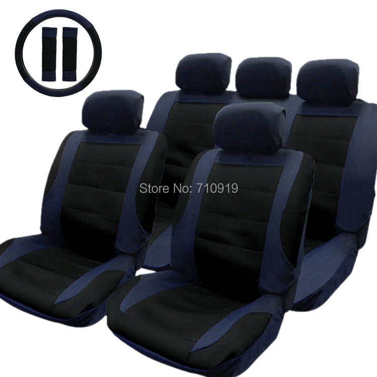 TIROL T21806 a New Car Seat Cover Black Blue 14pcs/Set Car Seat Covers Set Universal For Crossovers SUV Sedans Free Shipping(China (Mainland))