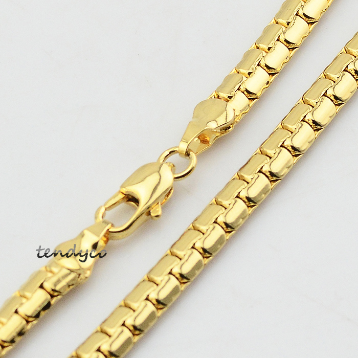 Chunky Men Women Hip-hop Solid 18K Yellow Gold Plated Chain Link Necklace Jewelry 4mm Wide(China (Mainland))
