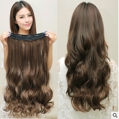 3Colors!!! 120g 23inch 60cm Synthetic Clip In Hair Extensions Curly Wavy Hairpiece Natural Hair Extension