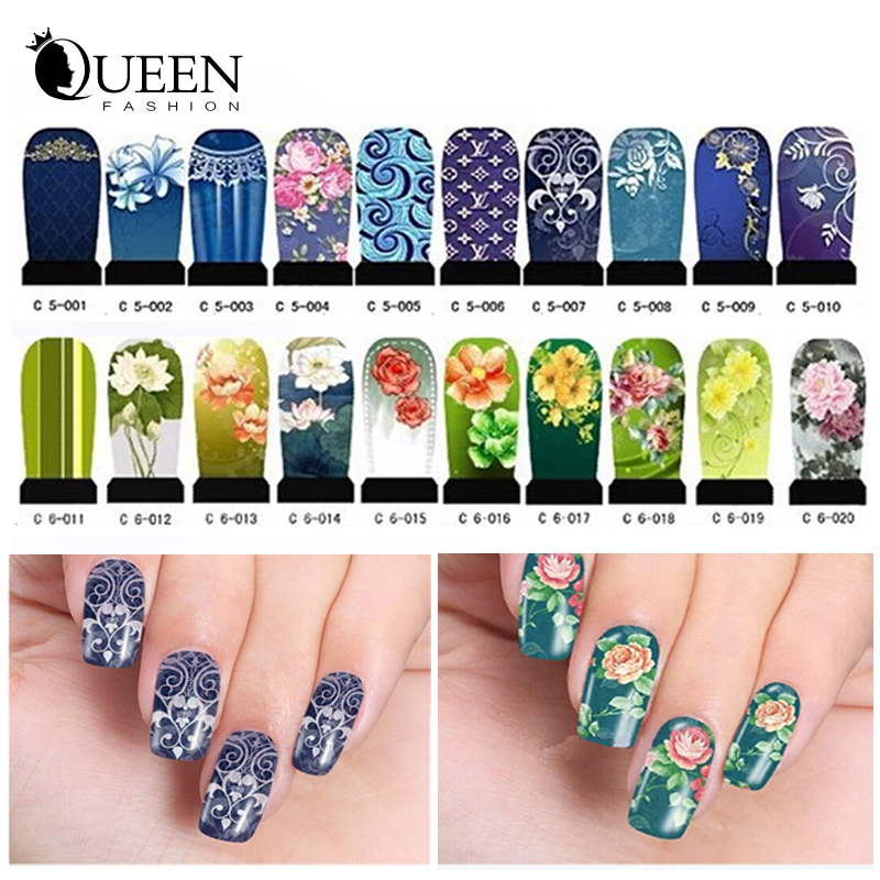 Transferable Water Nail Stickers,20sheets DIY Nail Art Beauty Wraps ...