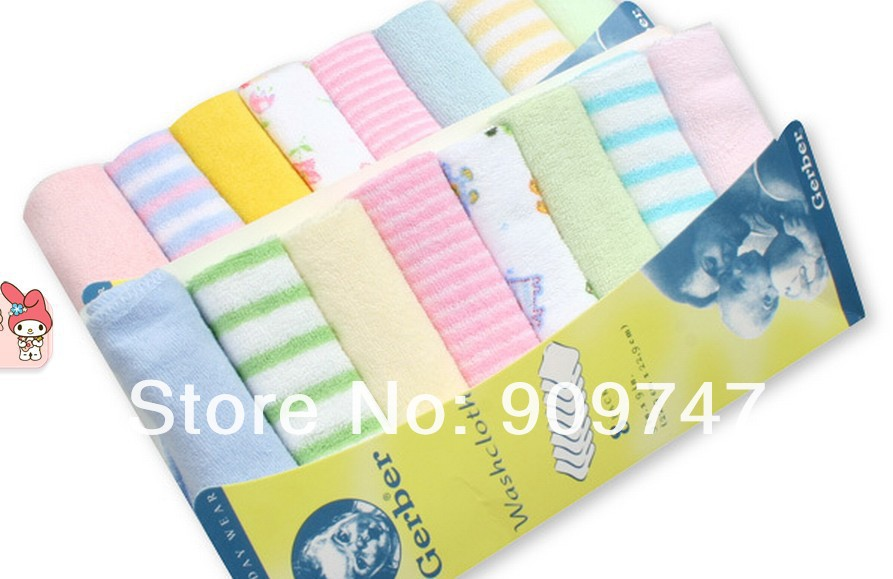 Towel for Baby The Baby Face Towel Small Soft Towel Handkerchief Cotton Baby Washcloth wash towel 8pcs/pack(China (Mainland))
