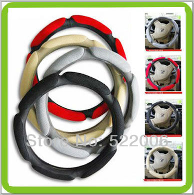 Free shipping Dia 38cm auto steering wheel cover handle cover antiskided yellow grey black and red options(China (Mainland))