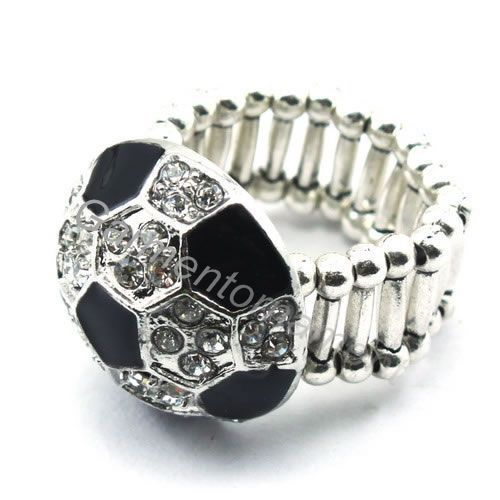 (Min.$10-mix order) zinc alloy black enamel clear crystal soccer ball elastic rings sports jewelry free shiping for men(China (Mainland))