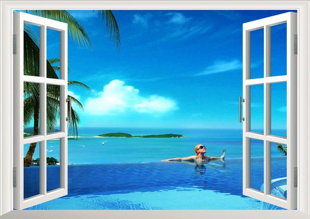 3D солнце пляж пальма вид из окна съемные стикеры стены искусства этикеты винила декора дома