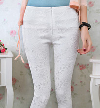 Spring New 2014 Women Lace Crochet Leggings Casual Ladies Cotton Embroidered Slim Pencil Pants Plus Size Long Trousers HTKZ001