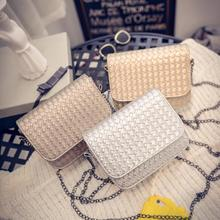 Fashion Shoulder Bag Fresh Knitting Crossbody Women Messenger Bags Popular Handbag Lady Flap Long Metal Chains Mini Purses