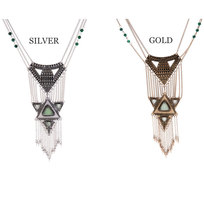 Stempunk Vintage Multi Layer Necklace Gold Silver Color Alloy Long Tassel Chain Statement Necklace Fashion Jewelry