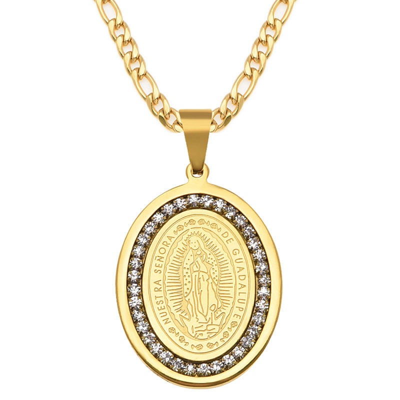 Virgin Mary Necklace popular 18K Real Gold Plated Women Jewelry Wholesale Colar Cross Pendant Necklaces(China (Mainland))