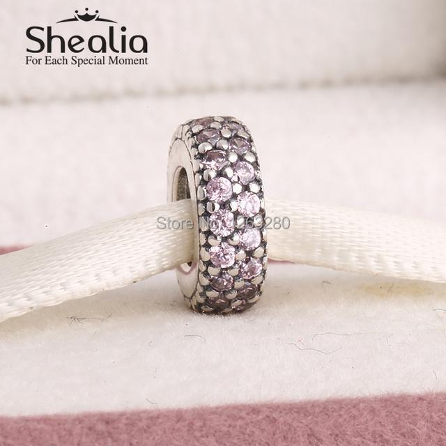 Весна коллекция аутентичные 925 чистое серебро спейсерной подвески-талисманы с причудливыми розовый циркон подходит бренд своими руками браслеты SH0599B